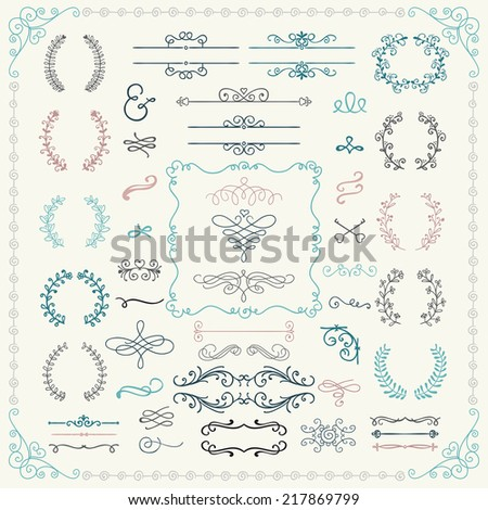 Colorful Vintage Hand Drawn Doodle Design Elements. Vector Illustration. Frames, Borders, Brackets, Dividers, Swirls - stock vector