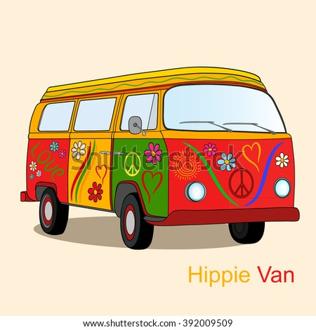 Colorful vintage hippie van. Vector illustration of vintage camper van painted with flowers, hearts, lines and lettering - stock vector