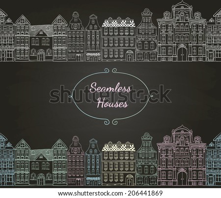 Colorful Vintage Old Styled Hand Drawn Doodle Seamless Houses. Chalk Drawing. Vector Illustration. - stock vector