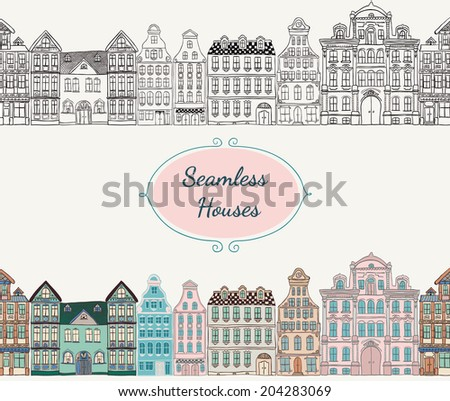 Colorful Vintage Old Styled Hand Drawn Doodle Seamless Houses. Vector Illustration. - stock vector