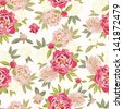 Colorful vintage pattern with floral ornament useful as background - stock vector