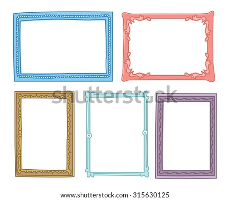 colorful vintage photo frame in doodle style - stock vector