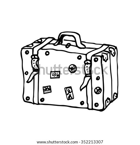 Colorful Vintage Suitcases Old Travel Bag Black And White Vector Illustration