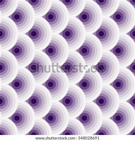 Colorful vintage violet-white seamless pattern with circles (vector) - stock vector