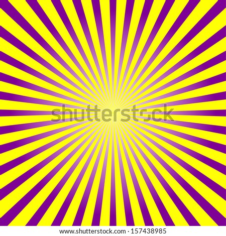 Colorful violet and yellow sunburst style ray background