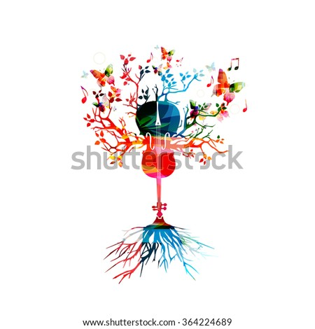 Colorful violoncello with butterflies - stock vector