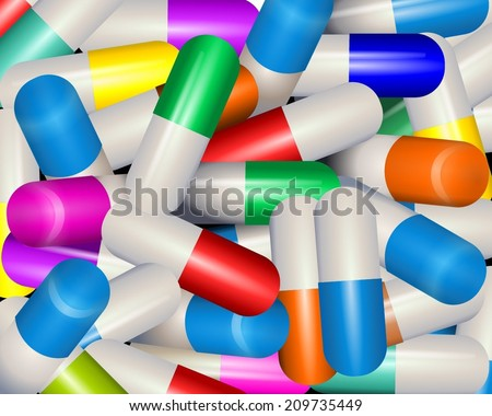 Colorful Vitamin Capsules background. Pharmaceutical theme. Heap of medical capsule pills in different color with medicine antibiotic. Shallow DOF. vector art image illustration - stock vector