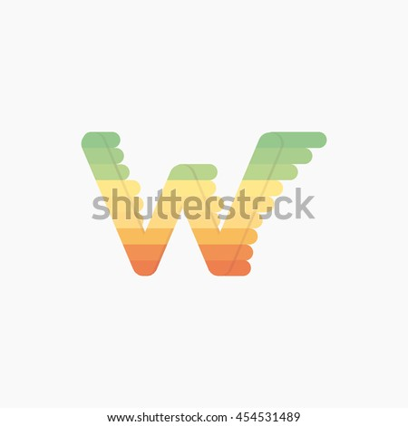 Colorful w Letters, vector design template elements for design