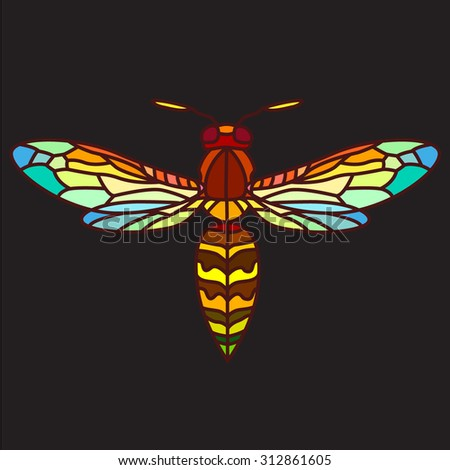 Colorful wasp, stained-glass - stock vector