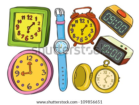colorful watch and clock doodle - stock vector