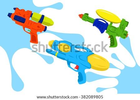 Colorful Water Gun Vector Pack - stock vector