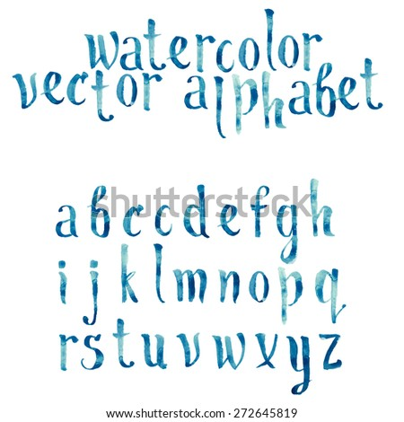 Colorful watercolor aquarelle font type handwritten hand drawn doodle abc alphabet letters vector. - stock vector
