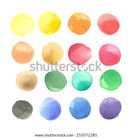 colorful watercolor blots isolated on white background - stock vector