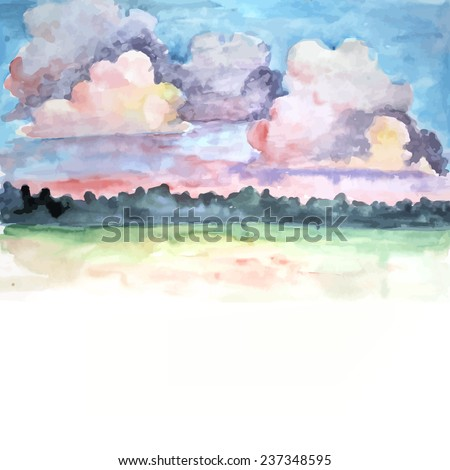 Colorful watercolor clouds. Vector  - stock vector
