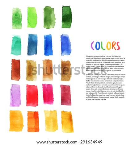 Colorful watercolor design elements with brush stroke elements. Palette art. Art studio decoration. Vector template for flyer, banner, poster, brochure, cover, postcards, invitation,  greeting card - stock vector
