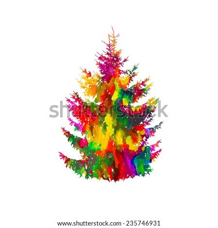 colorful watercolor fir-tree Isolated on white. Christmas tree. Vector - stock vector