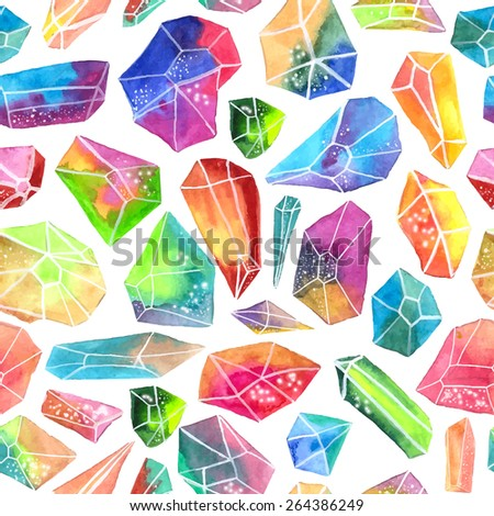 Colorful watercolor gem pattern, beautiful crystal Seamless pattern over white, VECTOR - stock vector