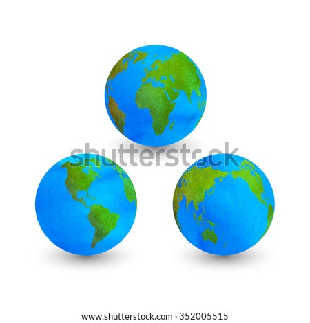 Colorful watercolor globes isolated on white. Vector Illustration.