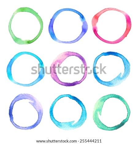 Colorful watercolor hand drawn isolated rings on white background. Vector illustration of brush painted abstract round stains set. Design element for decor, scrapbook, banner, card, craft, print. - stock vector