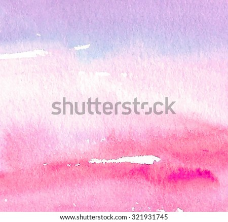 Colorful watercolor hand drawn vector decorative card. Brush painted smudges illustration. Abstract artistic pink violet background. Striped design element for banner, decoration, cover, print, web - stock vector