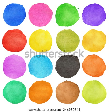 colorful watercolor hand painted circle isolated on white - stock vector