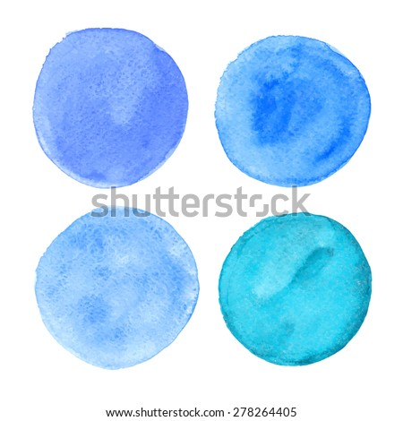 Colorful watercolor stain collection. Hand-painted isolated vector circles set. - stock vector