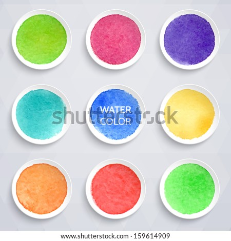 Colorful watercolor stains on round pieces of paper. Vector illustration. Elements for design.   - stock vector