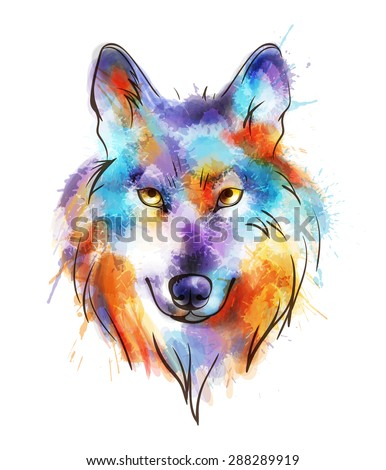Colorful watercolor wolf's head - stock vector
