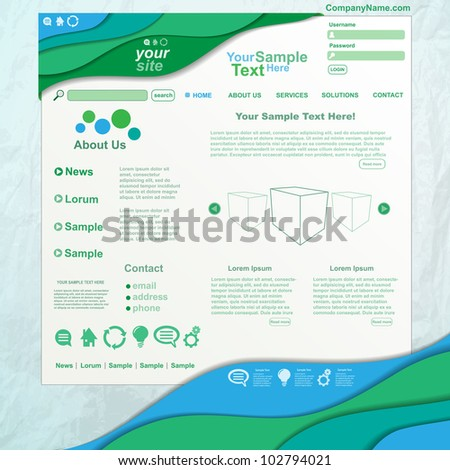 Colorful wave design website template, vector - stock vector