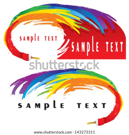 Colorful wave of paints and paintbrush - stock vector