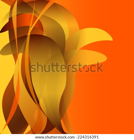 Colorful waves flower isolated abstract background yellow and orange gold - stock vector