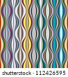 Colorful wavy lines textile seamless pattern, vector background. - stock photo