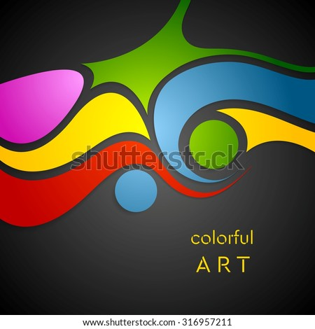 Colorful wavy pattern on black background. Vector design