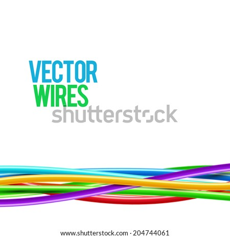 Colorful wavy wires. Vector illustration. - stock vector