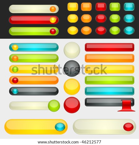 Colorful web button set. Global swatches included. Easy to change colors. - stock vector