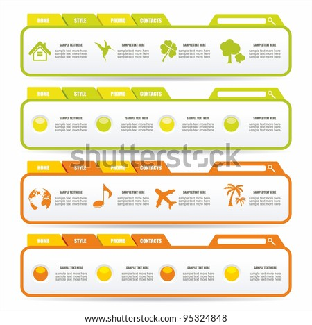 Colorful Web design Menu template - stock vector