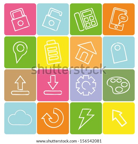 colorful web icon set - stock vector