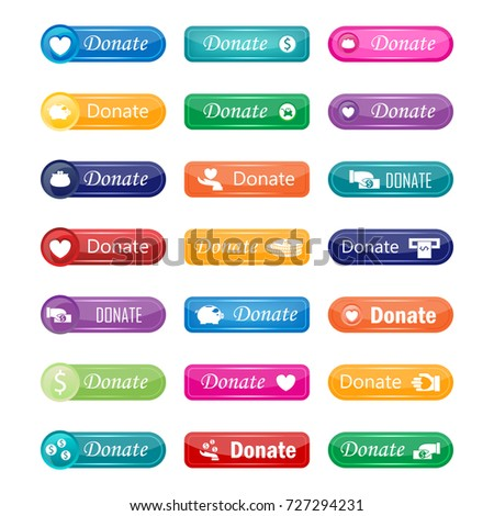 Colorful website donate buttons design vector illustration glossy graphic label internet confirm template