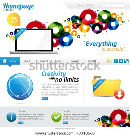 Colorful website template with clean design - stock vector