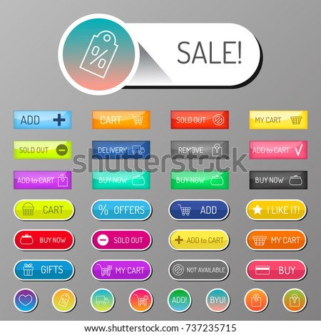 Colorful website web e-shop buttons design vector illustration glossy graphic label internet confirm template