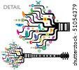 Colorful, whimsical, funky guitar in vector format - stock vector