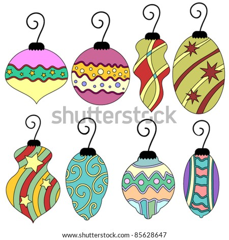 Colorful whimsical vector Christmas bauble collection