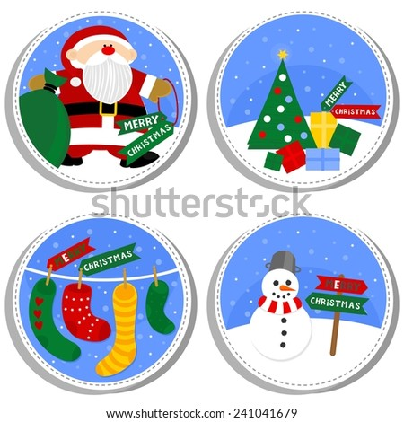 colorful winter holiday round shaped illustration set with Santa Claus Christmas tree gift socks and happy snowman with Merry Christmas wishes in English isolated on white background - stock vector