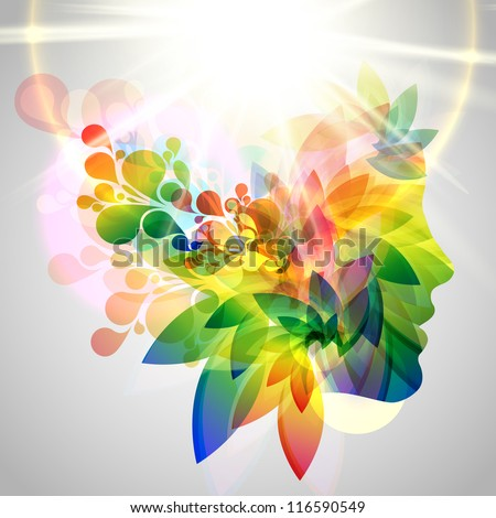 Colorful woman face with leaves - stock vector