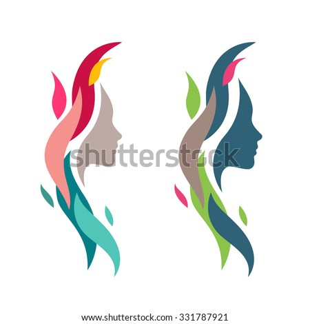 Colorful Woman Face with Waves. Abstract Female Head Silhouette for Logos and Icons Elements. Nature Cosmetics Symbol Concept. - stock vector