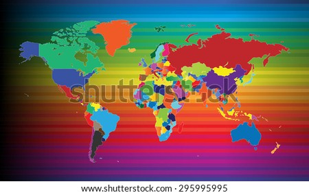 Colorful World Map Background (Vector Illustration - Countries Separable by borders) - stock vector
