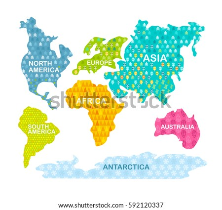 Colorful World Map Continents Patterns Africa Stock Vector - Colorful world map