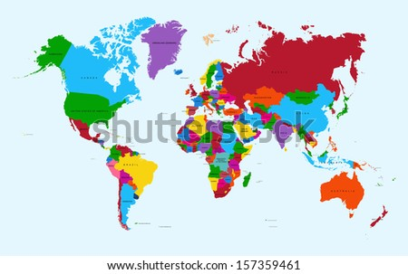 Colorful World map countries with text Atlas. EPS10 vector file organized in layers for easy editing.  - stock vector