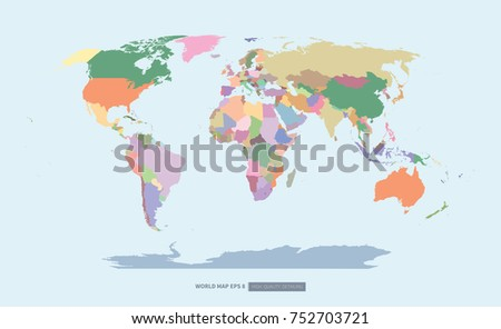 Colorful world map high quality detailing stock vector 752703721 colorful world map high quality detailing on beige color background flat vector gumiabroncs Image collections