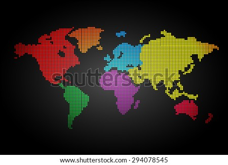 Colorful World map pixel table illustration on black background. vector. dot. point, spot. tile mosaics. design - stock vector